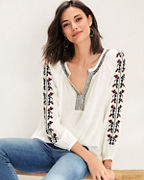 Velvet by Graham & Spencer Hunter Embroidered Blouse