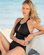 Kenneth Cole High-Neck Shirred Mio Swimsuit