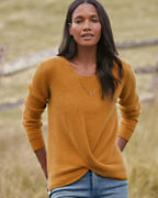 Cashmere Twist-Hem Sweater