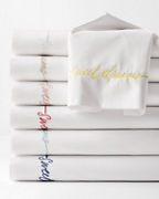 Garnet Hill Signature Sweet Dreams Embroidered Percale Bedding