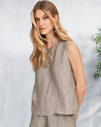 EILEEN FISHER Washed-Organic-Linen Délavé Shell
