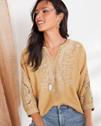 Johnny Was LA Kemi Linen Peasant Top