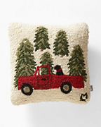 Truck Hooked Wool Pillow