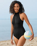 Garnet Hill Active Zip-Front One-Piece Swimsuit