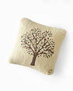 Autumn Tree Hooked Wool Pillow