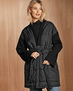 EILEEN FISHER Quilted Recycled-Nylon & Boiled-Wool Coat