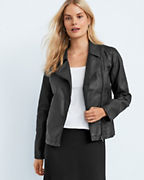 EILEEN FISHER Waxed-Linen Moto Jacket
