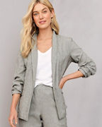 EILEEN FISHER Organic-Cotton & Linen Ticking-Stripe Jacket