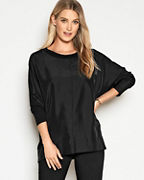 EILEEN FISHER Stretch TENCEL™ & Silk Long-Sleeve Boxy Top