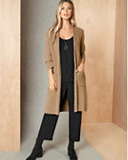 EILEEN FISHER Organic-Cotton Bouclé Long Cardigan
