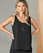 EILEEN FISHER Silk Georgette Crêpe Scoop-Neck Tank