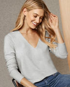 EILEEN FISHER Organic-Cotton & Silk V-Neck Pullover