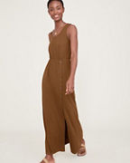 Side-Button Knit Maxi Dress