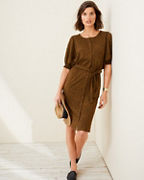 Smocked Elbow-Sleeve Knit Dress