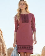 Embroidered Boatneck Knit Dress