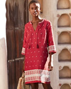 Embroidered Linen Popover Dress