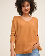Recycled-Cashmere Fringe-Hem Sweater