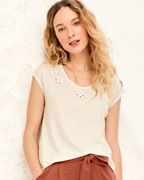 Linen & Modal Cutwork Knit Top