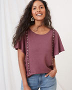 Embroidered Linen & Modal Flutter-Sleeve Tee