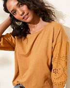 Broderie-Sleeve Knit Top