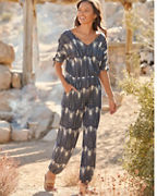 Tie-Sleeve Knit Jumpsuit