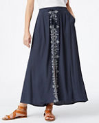 Embroidered Button-Front Maxi Skirt