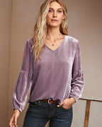 Velvet Bishop-Sleeve Blouse