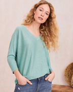 Linen Oversized V-Neck Sweater