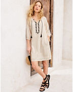 Embroidered Gauze Popover Dress