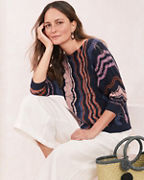 Boxy Striped Pointelle Sweater