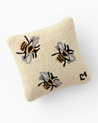 Three Bees Hooked Wool Pillow