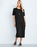 EILEEN FISHER Fine TENCEL™ Jersey Round-Neck Short-Sleeve Midi T-Shirt Dress