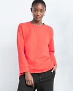 EILEEN FISHER Organic-Cotton Twill-Knit Crewneck High-Low Hem Top