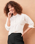 EILEEN FISHER Organic-Cotton Stretch-Lawn Button-Front Shirt