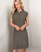 EILEEN FISHER Viscose Jersey Mandarin-Collar Dress