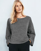 EILEEN FISHER Double-Layer Organic-Cotton Ballet-Neck Bracelet-Sleeve Top