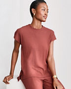 EILEEN FISHER Textured Stretch Ribbed Crewneck Top