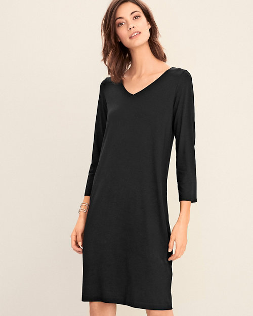 945ce950127b EILEEN FISHER Viscose-Jersey Three-Quarter-Sleeve V-Neck Dress