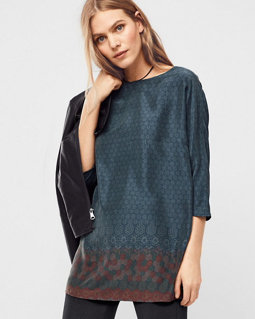 959a45f1d16 Three-Quarter-Sleeve Silk Tunic