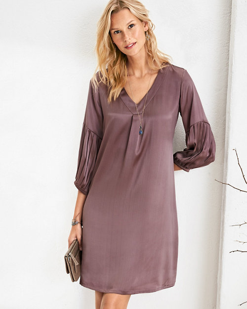 4eb43a258f5 Pleat-Detail Silk Dress