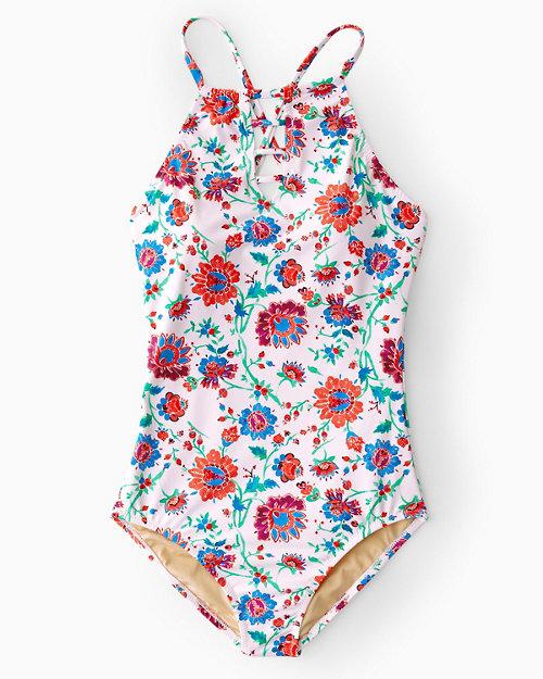 48cd0ec5122 Garnet Hill Signature High-Neck Lattice One-Piece Swimsuit