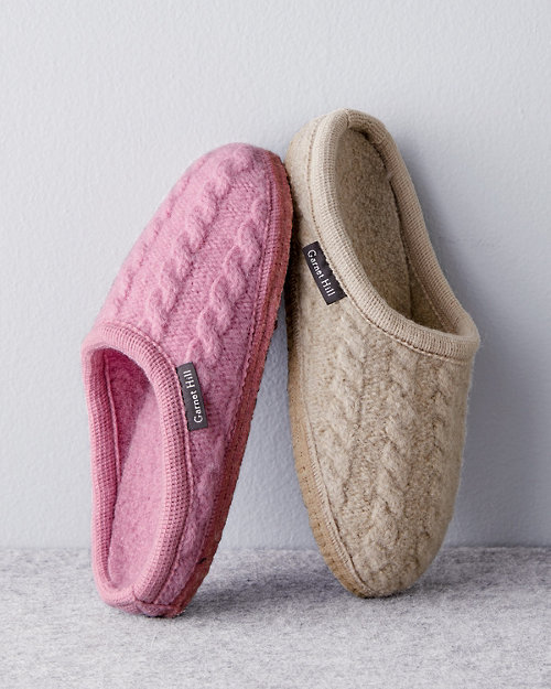 8f81e19d657 Haflinger Boiled Wool Cabled Slippers