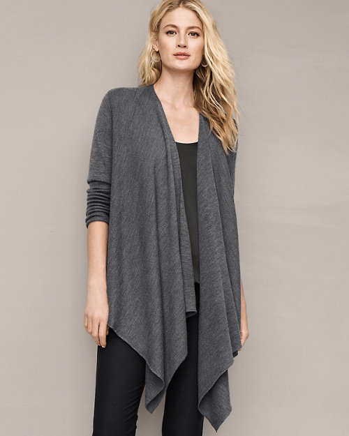 63e5385dd58 EILEEN FISHER Ribbed Merino Cascade-Front Cardigan