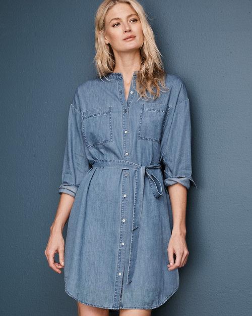 b891cfd91f EILEEN FISHER Organic-Cotton Denim Dress