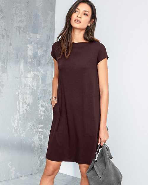 4e9a74dd23bb8 EILEEN FISHER Viscose-Jersey Knot-Detail Dress