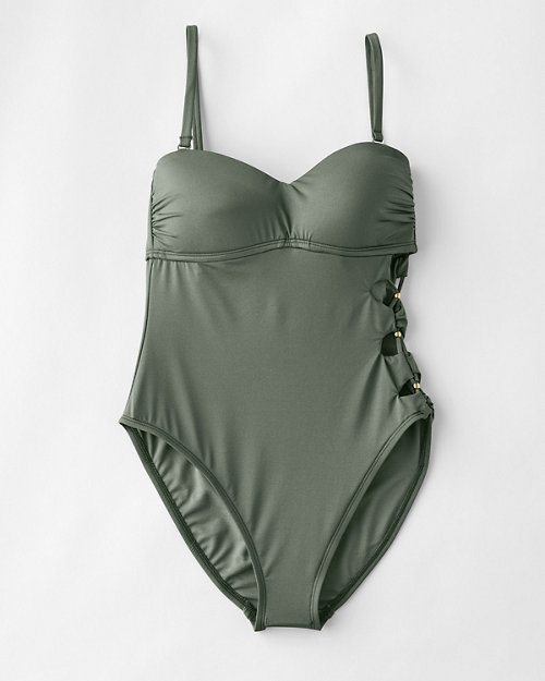1084ef4711740 Kenneth Cole Solid Attitude Side-Looped Mio One-Piece Swimsuit. Quick Shop